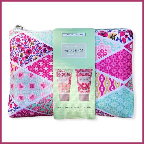 Vintage Fabric & Flowers Cosmetic Bag & Hand Cream Set