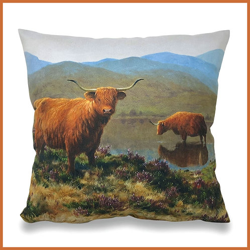 Julian Friers Cushion Highland Cattle By The Loch