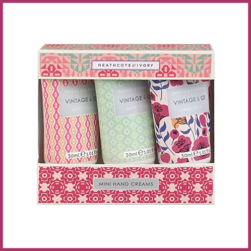 Vintage Fabric & Flowers Mini Hand Creams 3x30ml