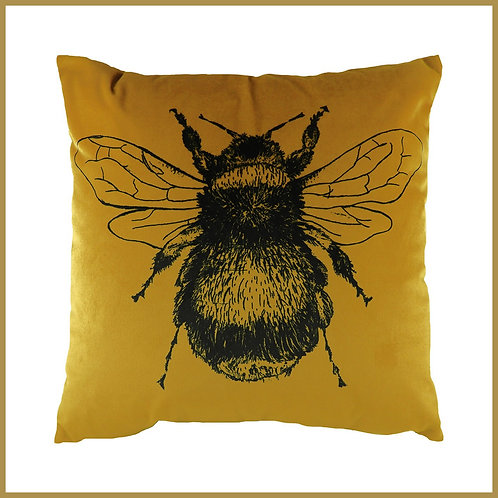 Velvet Touch Bee Cushion Gold