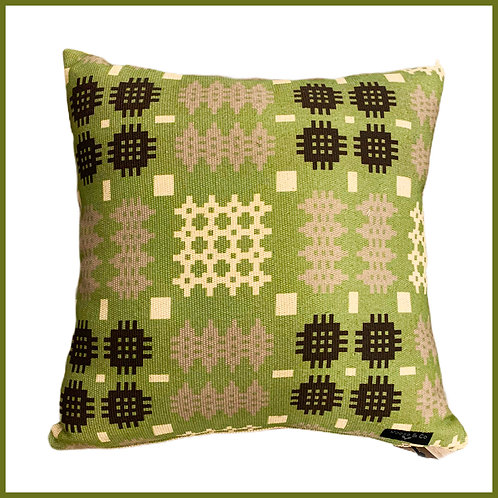 Welsh Tapestry Print Cushion Green