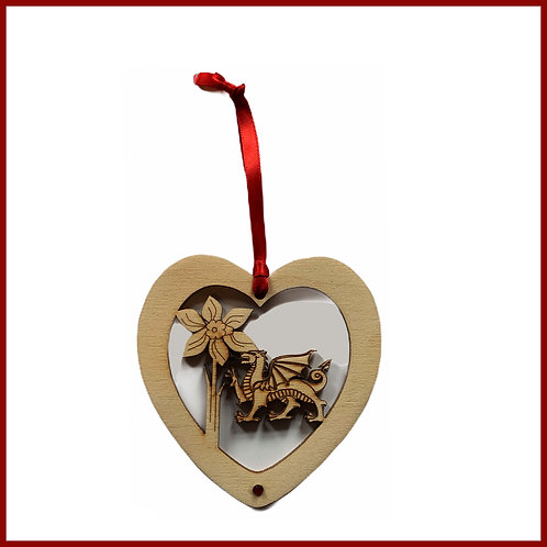 Welsh Fretwork Heart Dragon & Daffodil