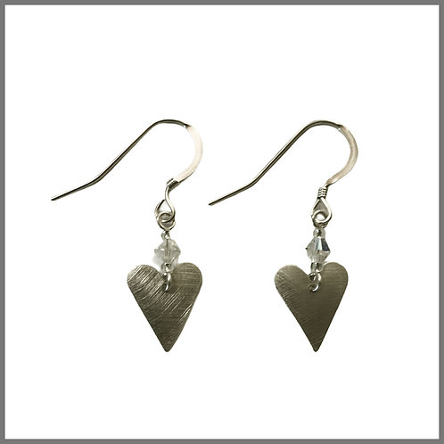 Aluminium Slim Heart & Crystal Earrings