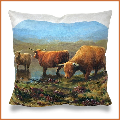 Julian Friers Cushion Highland Cattle By The River