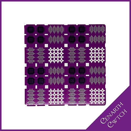 Cenarth Cwtch Welsh Print Coaster Powerful Purple