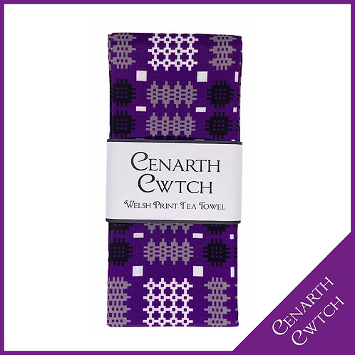 Cenarth Cwtch Welsh Print Tea Towel Powerful Purple