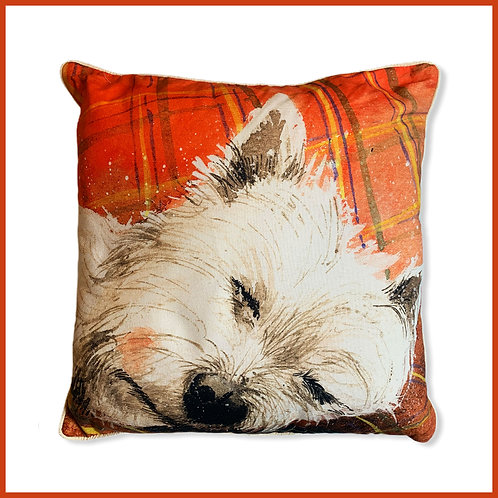 Alex Clark Cushion Tartan Rug Dog