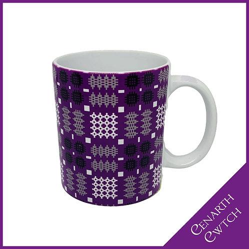 Cenarth Cwtch Welsh Print Mug Powerful Purple