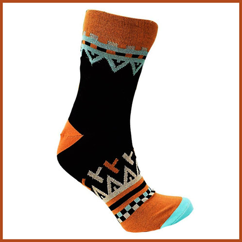 Bamboo Socks Black Orange