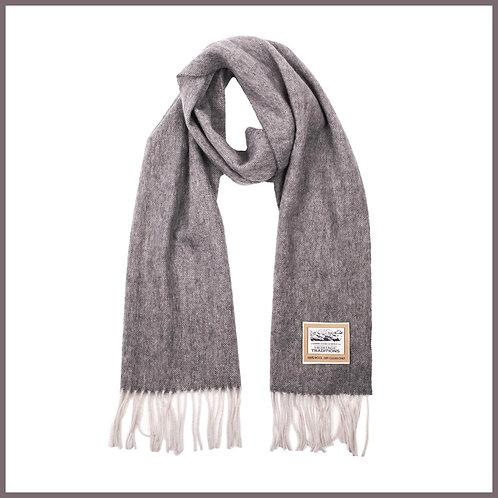 Heritage Pure Wool Scarf Grey Herringbone