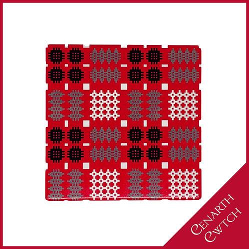 Cenarth Cwtch Welsh Print Coaster Radiant Red