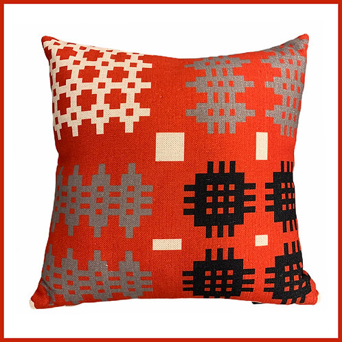 Welsh Tapestry Print Cushion Red