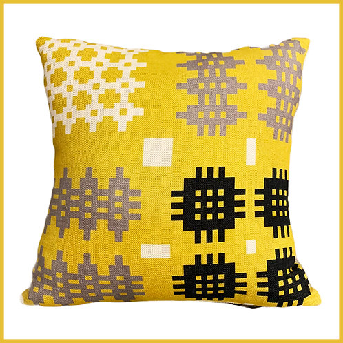 Welsh Tapestry Print Cushion Yellow