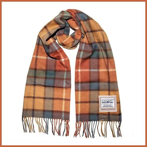 Heritage Pure Wool Scarf Orange Check