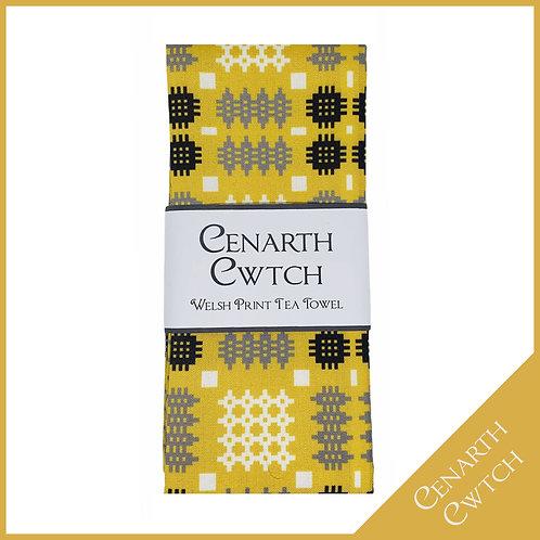 Cenarth Cwtch Welsh Print Tea Towel Mustard Yellow