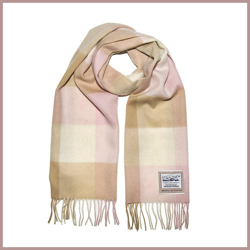 Heritage Pure Wool Scarf Camel Rose Check