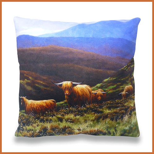 Julian Friers Cushion Highland Cattle On The Moors