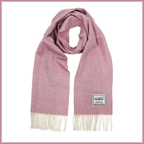 Heritage Pure Wool Scarf Rose Herringbone