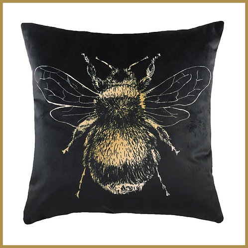 Velvet Touch Bee Cushion Black