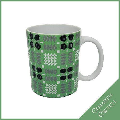 Cenarth Cwtch Welsh Print Mug Peppermint Green