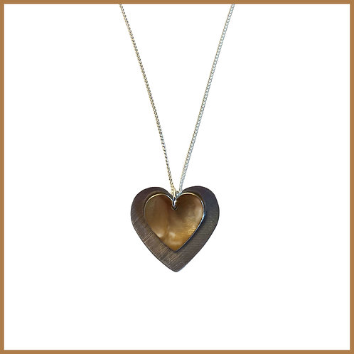 Copper Rose Double Heart Necklace
