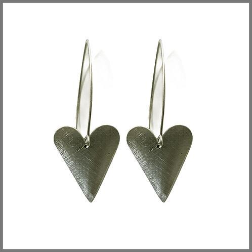 Aluminium Medium Heart Earrings Long