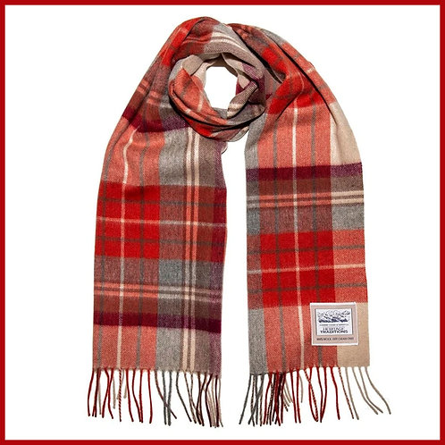 Heritage Pure Wool Scarf Russet Check