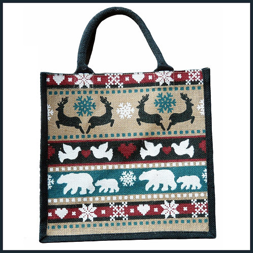 Jute Shopping Bag Winter Animals
