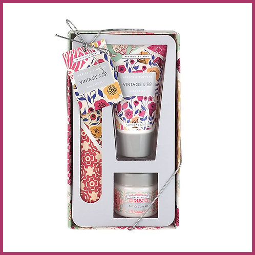 Vintage Fabric & Flowers Nail Care Set