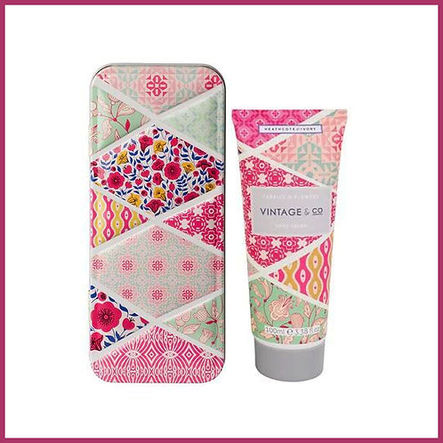 Vintage Fabric & Flowers Hand Cream in a Tin 100ml