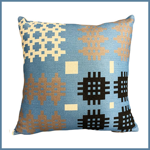 Welsh Tapestry Print Cushion Blue