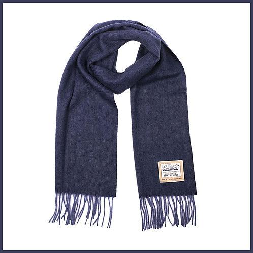 Heritage Pure Wool Scarf Navy Herringbone