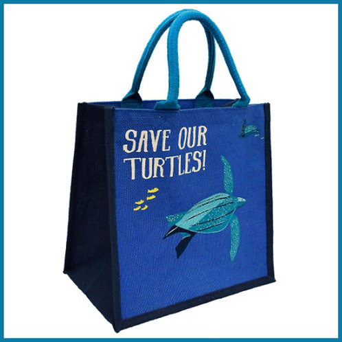 Jute Shopping Bag Save Our Turtles