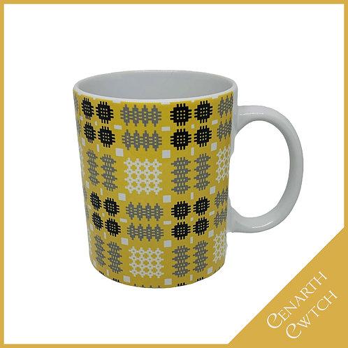 Cenarth Cwtch Welsh Print Mug Mustard Yellow