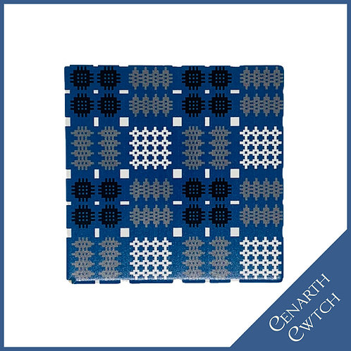 Cenarth Cwtch Welsh Print Coaster Cobalt Blue