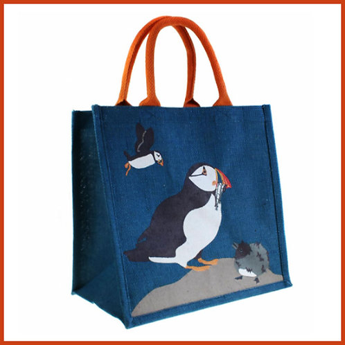 Jute Shopping Bag Puffins