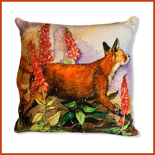 Alex Clark Cushion Fox & Foxgloves