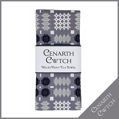 Cenarth Cwtch Welsh Print Tea Towel Silver Grey