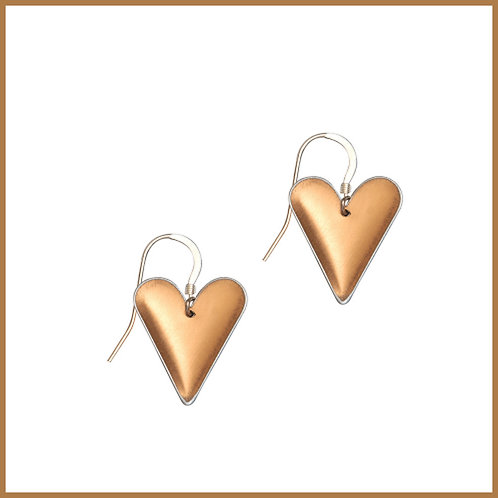 Copper Rose Medium Heart Earrings