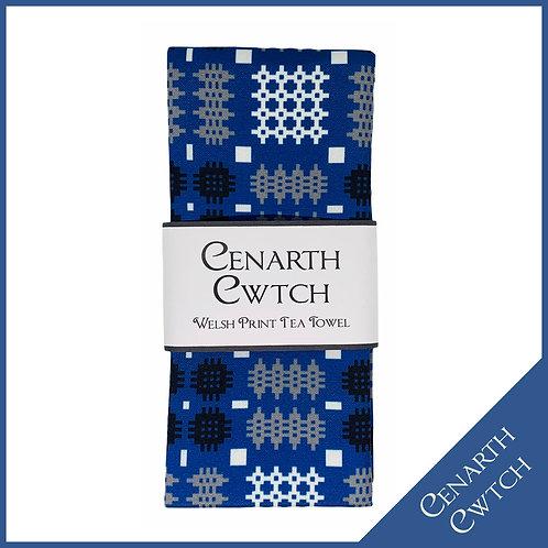 Cenarth Cwtch Welsh Print Tea Towel Cobalt Blue