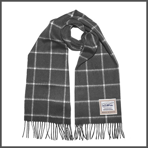 Heritage Pure Wool Scarf Charcoal Grey Check