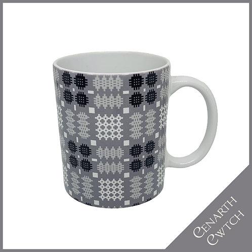 Cenarth Cwtch Welsh Print Mug Silver Grey