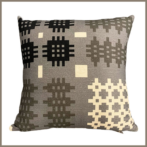 Welsh Tapestry Print Cushion Grey