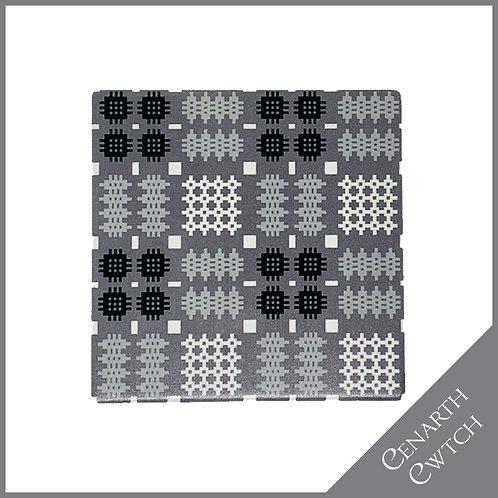 Cenarth Cwtch Welsh Print Coaster Silver Grey