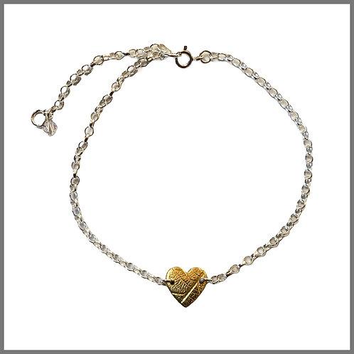 Brass Heart Leaf Bracelet