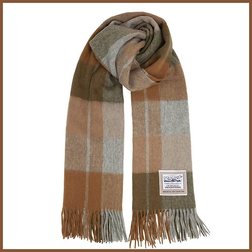 Heritage Pure Wool Scarf Woodland Check