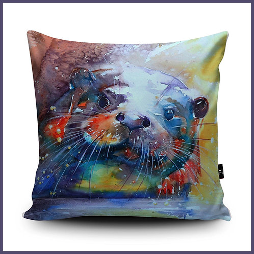 Liz Chaderton Cushion Rainbow Otter