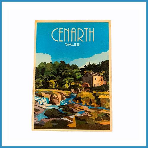 Cenarth Retro Design Wooden Postcard