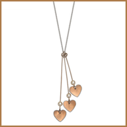 Copper Rose Three Heart Necklace