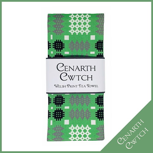Cenarth Cwtch Welsh Print Tea Towel Peppermint Green